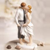 La figurine baiser sur la plage cake topper en porcelaine