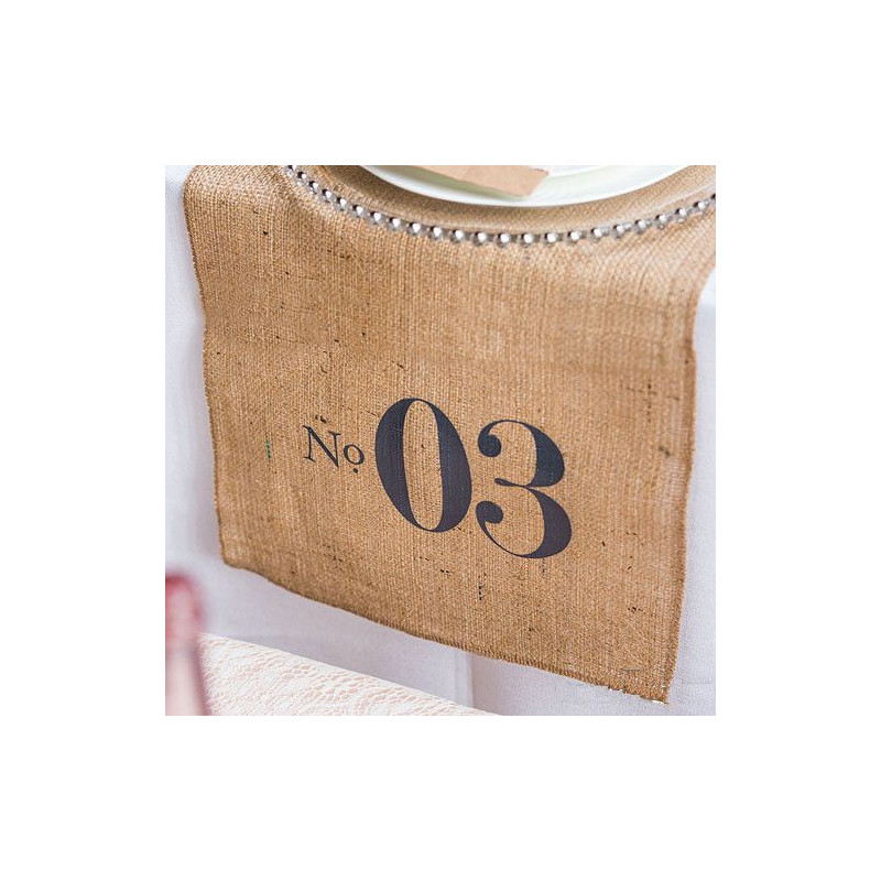 Numero de table sur chemin de table for Toile de jute castorama