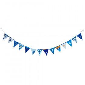 La bannière happy birthday bleu