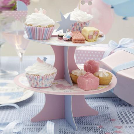 Desserte cupcake bleu et rose baby shower bapt me - Jolie cupcake ...