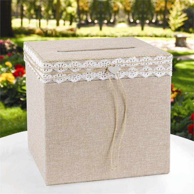 urne de mariage rustique en toile de jute. Black Bedroom Furniture Sets. Home Design Ideas