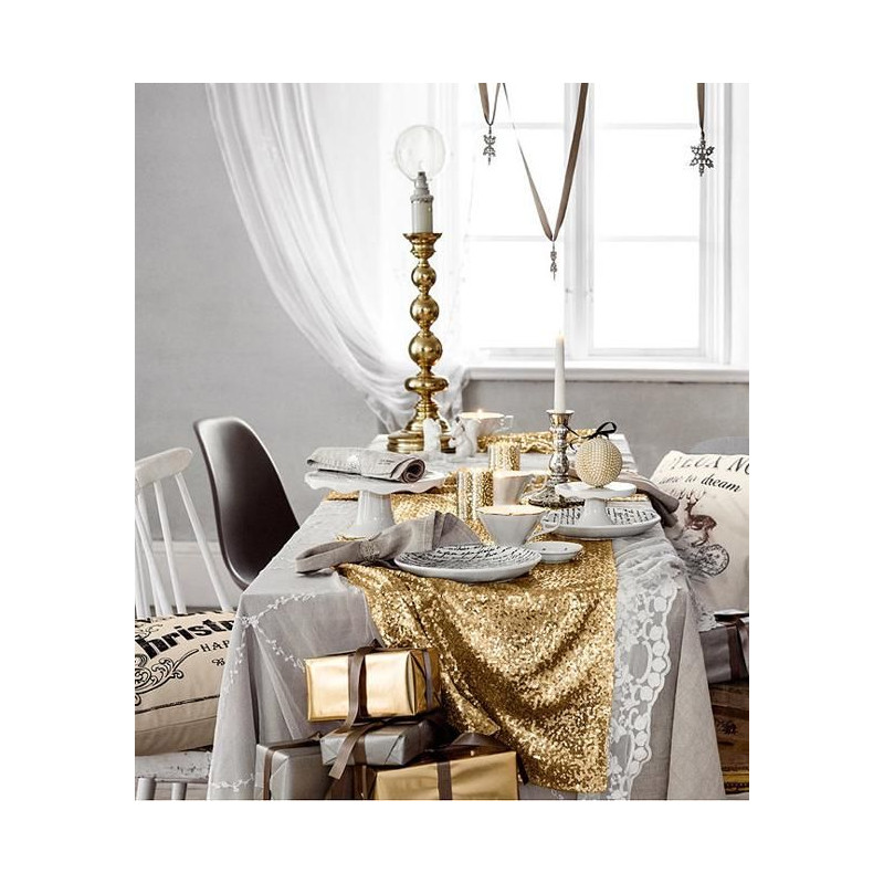 chemin de table sequins or. Black Bedroom Furniture Sets. Home Design Ideas