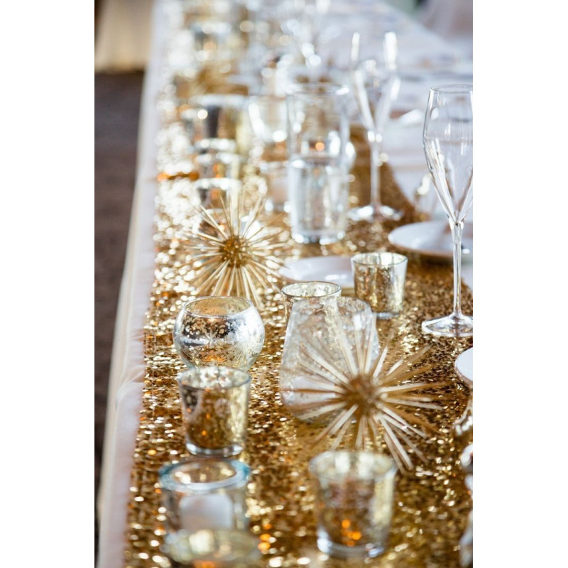 Chemin de table sequins or for Chemin de table dore