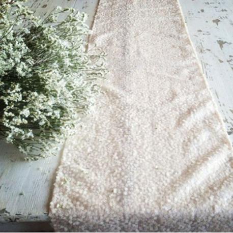 Chemin de table sequins blanc - Chemin de table beige ...