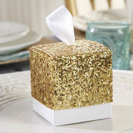 La boîte à dragées glitter or