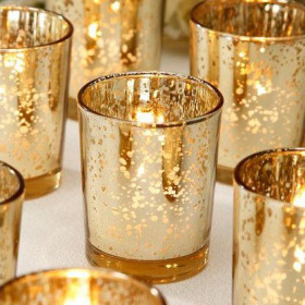 Le photophore verre mercurisé or