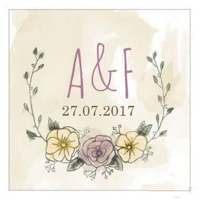Les 2 cartes personnalisées couronne de fleurs