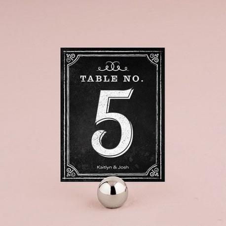 carte numéro de table mariage ardoise