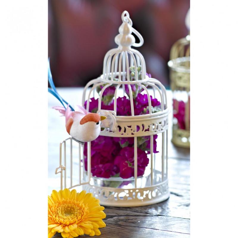 Cage miniature blanche decoration mariage - Cage a oiseaux en bois deco ...