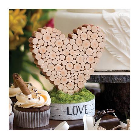 Figurine gateau coeur en rondin de bois - Rondin de bois mariage ...