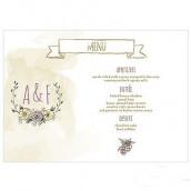 Les 4 cartes menu couronne champêtre