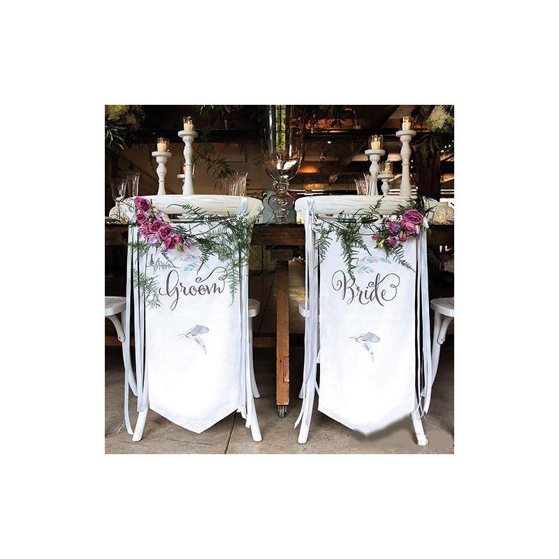 Housse de chaise bride groom personnalis e for Housse de chaise dossier rond