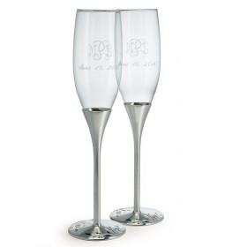 Les 2 flûtes à champagne Venise argent