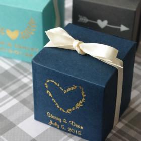 La boite à dragées cube personnalisée rustique