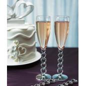 Les 2 flûtes à champagne ligne de coeur