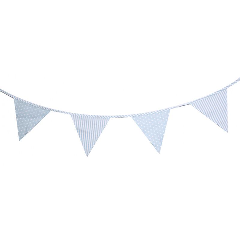 Guirlande de fanions bleu pois et rayures - Guirlande de fanions tissu ...