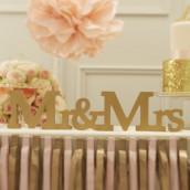 Mr & Mrs en bois doré