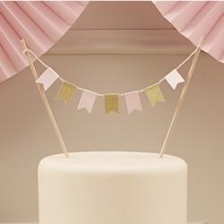 La mini bannière pour gâteau rose et or