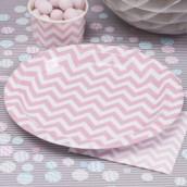 Les 8 assiettes en carton chevron rose