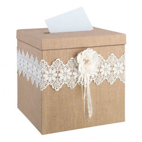 urne de mariage toile de jute rustique. Black Bedroom Furniture Sets. Home Design Ideas