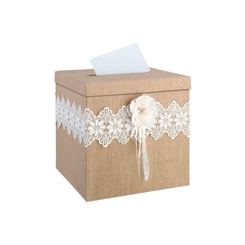 Urne de mariage toile de jute rustique for Decoration urne de mariage