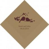Les 100 serviettes personnalisées oiseaux 16,5cm