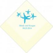 Les 100 serviettes personnalisées étoile de mer 16,5cm