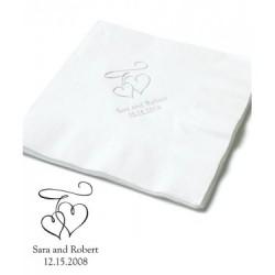 Les 100 serviettes personnalisées double coeur 16,5cm