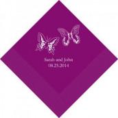 Les 100 serviettes personnalisées duo papillon 16,5cm