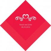 Les 100 serviettes personnalisées coeur arabesque 16,5cm