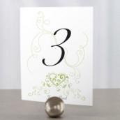 Les 12 numéros de table coeur en filigrane