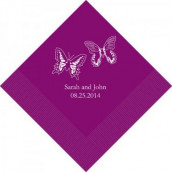 Les 80 serviettes personnalisées duo papillon 10,8x20cm