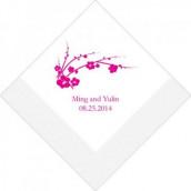 Les 80 serviettes personnalisées fleur de cerisier 10,8x20cm