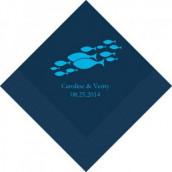 Les 100 serviettes personnalisées poisson 12,5cm