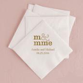 Les 100 serviettes personnalisées M&Mme 12,5cm