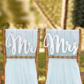 Les écriteaux Mr & Mrs or