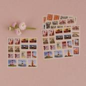 La planche de stickers timbre voyage