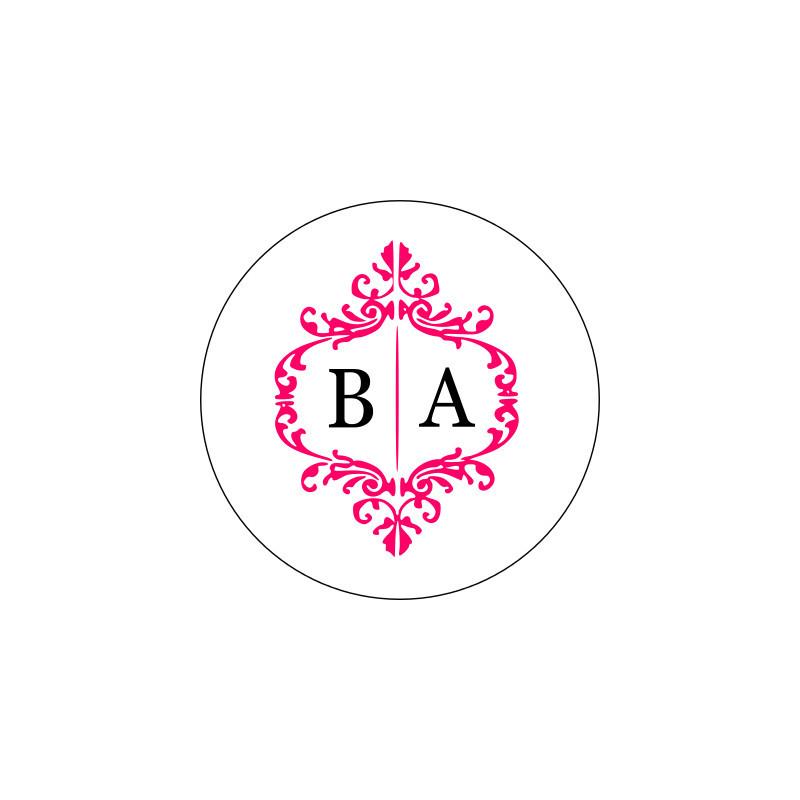 sticker personnalise mariage baroque monigramme. Black Bedroom Furniture Sets. Home Design Ideas