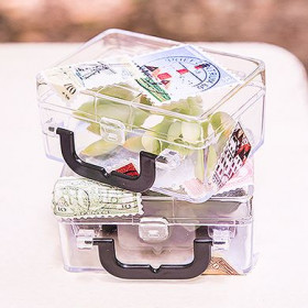 Les 6 boites à dragées valise en plexiglas
