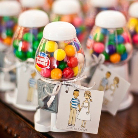 Distributeur boule de chewing gum cadeau pour invit - Regalos invitados boda manualidades ...