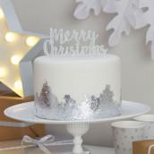 Le pic à gâteau Merry christmas argent