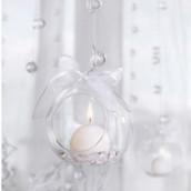 Les 4 boules en verre à suspendre ouvertes vase mariage et suspension Noel