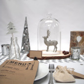 Décoration de table de Noël : bois et argent