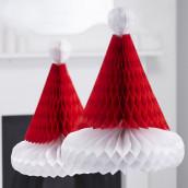 Les bonnets de père noel en papier alvéolé
