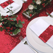 Le chemin de table sequins rouge