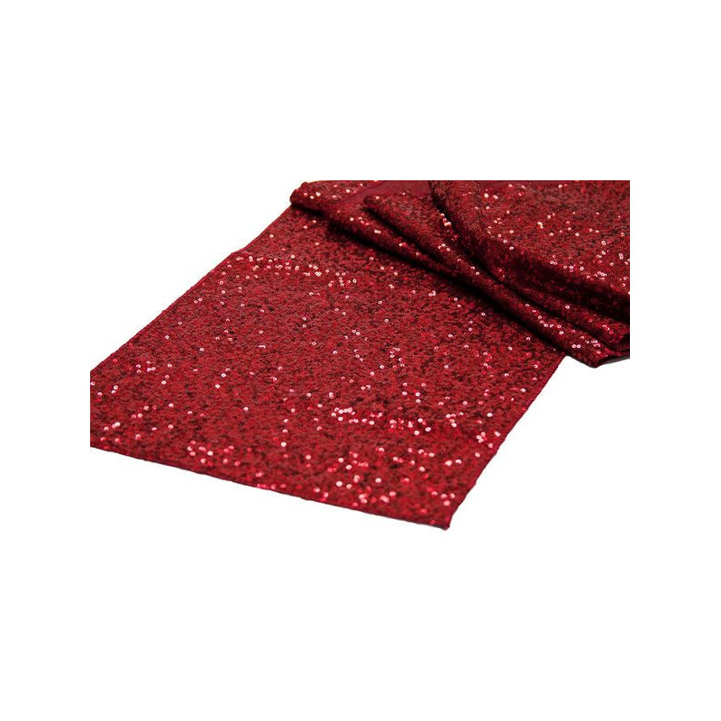 Chemin de table sequins rouge for Chemin de table rouge