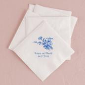 Les 80 serviettes personnalisées fleur 10,8x20cm
