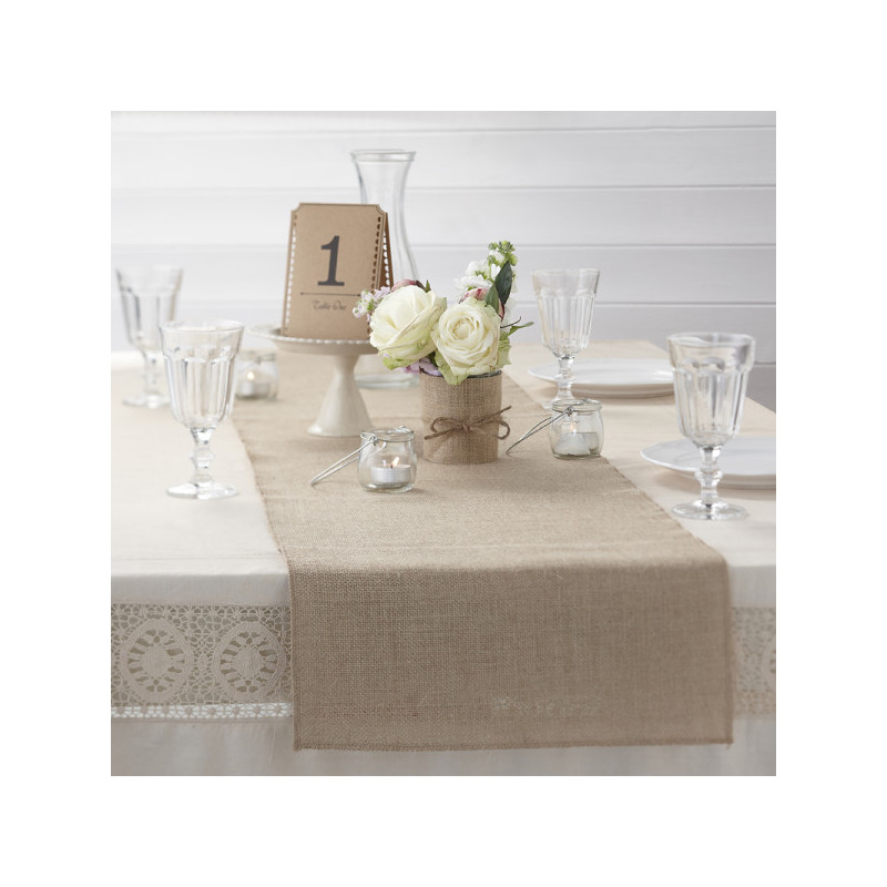 chemin de table toile de jute. Black Bedroom Furniture Sets. Home Design Ideas