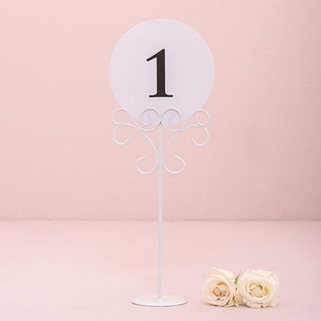Porte numero de table blanc for Decoration porte fer forge
