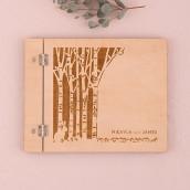 Le livre d'or couverture bois personnalisé forêt